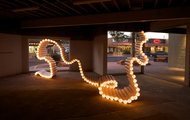 <p><em>Drain</em>&nbsp;|&nbsp;PVC pipe, zip ties, lights | dimension may vary | 2012</p> <p>This piece was chosen for In Flux Cycle 2 in Scottsdale Arizona.</p>
