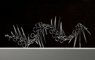 "<p><em>I Made It (Series #7)</em> | used surgical tools and zip ties | h 7.25"" w 19"" d 8"" 