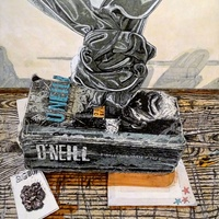 "<p>'Still life with objects of fantasy 2' Acrylic, ink + graphite on 20""by24"" panel. 2015-16. </p>"