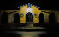 "<p><em>""Yellow House at Night""</em>, Oil on Panel, 2017, 9 x 12 in.</p>"