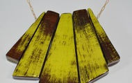 <p>5 piece wood and resin necklace $89</p>