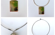 <p>wood and resin chokers are $45 or $55</p>