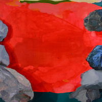 """<p><em><strong>Canyon (after Frankenthaler),</strong></em><span>2014. Oil and acrylic on canvas, 22 x 28""""</span></p>"""
