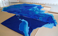 <p>Pacific Quilt, in progress, with parts 1, 2, and 3 ready to be hand-stitched together, (part 1 folded). 2017</p>