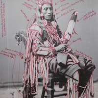 """<p style=""""text-align: justify;""""></p> <p></p> <p>Title: Peelatchiwaaxpáash / Medicine Crow (Raven)</p> <p><em>Artist-manipulated digitally reproduced photograph by C.M. </em></p> <p><em>(Charles Milton) Bell, National Anthropological Archives, Smithsonian Institution</em></p> <p>Medium: Pigment Print on Archival Photo-Paper</p> <p>Size: 24"""" x 16.45"""" with additional 1"""" border</p> <p>Date: 2014</p>"""