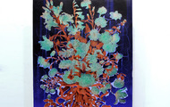 "<p><em><strong>Ekki M<span class=""st""><em>ú</em></span>kk (AA) </strong></em>- 2018, Acrylic, Kuricoat C-720(synthetic resin), powder pigment on panel, copper, urethane & glass vase, 110"" x 48"" x 12""</p>"