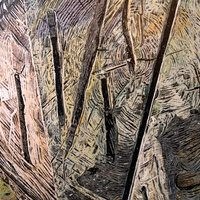 """<div style=""""text-align: center;"""">Stump Picture (outside Capilano)</div> <div style=""""text-align: center;"""">&nbsp;</div> <div style=""""text-align: center;"""">Acrylic, ink+graphite on 14""""by18"""" panel. 2017-18.</div>"""