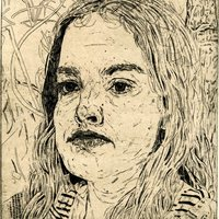 """<p align=""""center"""">Sarah-Jeanne</p> <p align=""""center"""">8""""by9"""" etching on 11""""by15"""" paper. 2018.</p>"""