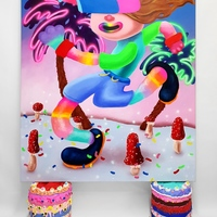 <p><em>Don't care Bear</em><br />Acrylic and airbrush on 150 x 130cm canvas, <br />resting on 2 cakes, each ca 34 x 32cm, acrylic, glitter, polystyrene beads, foam clay and resin on hard coated PU<br />2019</p>