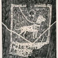 """<p align=""""center"""">Pets Must Be Leashed</p> <p align=""""center"""">6&rdquo;by7&rdquo; etching with aquatint and drypoint on 11&rdquo;by15&rdquo; paper. 3<sup>rd</sup>&nbsp;state. 2019.</p>"""