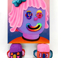 <p><em>Add me on Myspace</em><em><br /></em>acrylic and airbrush on 50 x 60cm canvas<br />resting on 2 heads; each ca 22 x 22 x 19cm, acrylic and foam clay on hard coated EPS<br />2019</p> <p>&nbsp;</p> <p>&nbsp;</p> <p>&nbsp;</p>