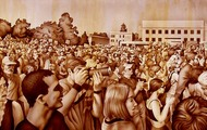 """<p>Rally in Sepia #1, 2006&nbsp;(original available upon request, 20 x 72"""")</p>"""