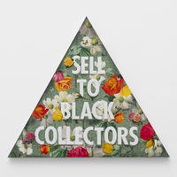 <p>Genevieve Gaignard<br /><em>Sell To Black Collectors (Green), 2020&nbsp;</em><br />Mixed media on panel<br />20.5 x 23.75 x 1.25 inches</p>