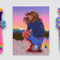 <p><em>There can only be one<br /></em>acrylic on canvas<br />105 x 140cm<br />sculptures: 130 x 30 x 10cm, acrylic, stickers, playdoh, resin, EPS<br />2020</p>